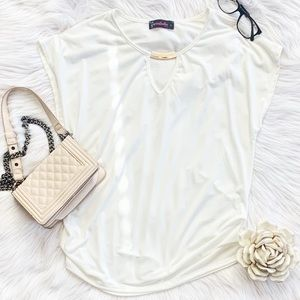 Annabelle White Short Sleeve Blouse Large